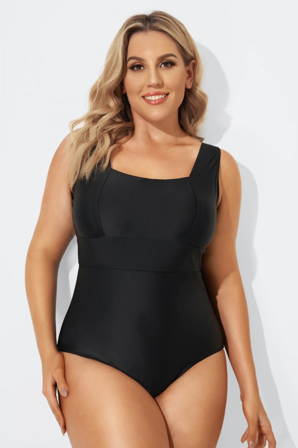 Black Square Neckline Straps One Piece Swimsuit