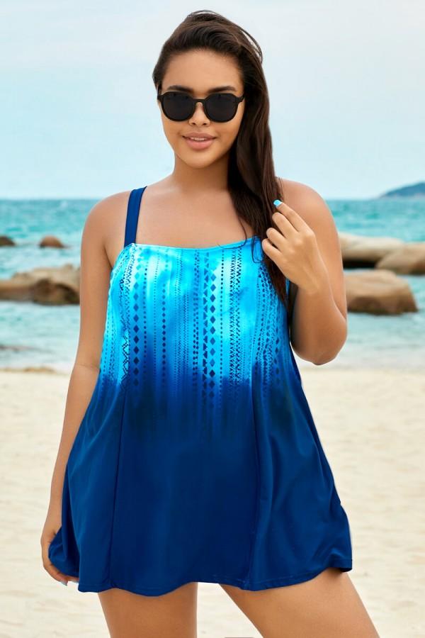 Blue Ocean Square Neckline Women Stylish Swimdress