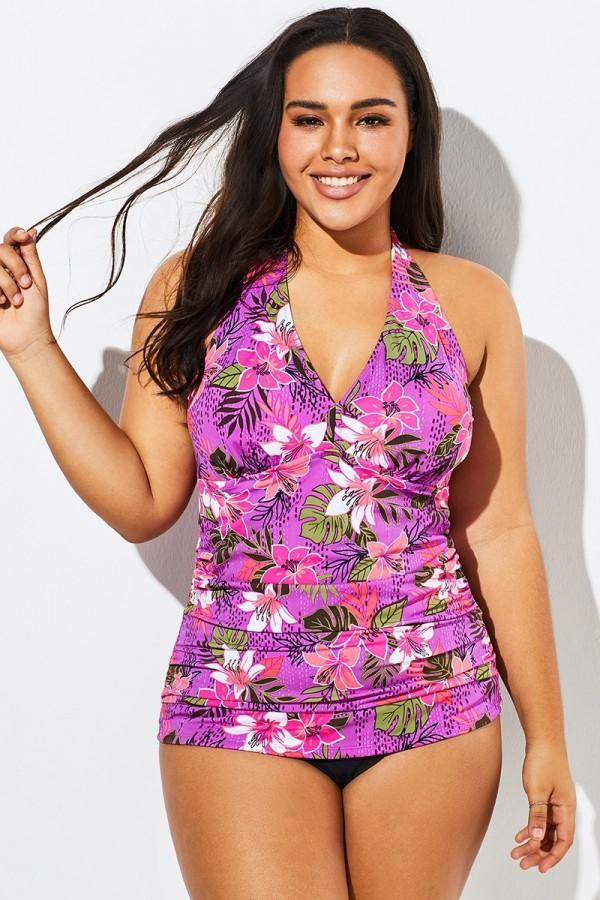 Pink Orchid Shirred Halter V-neck Tankini Set