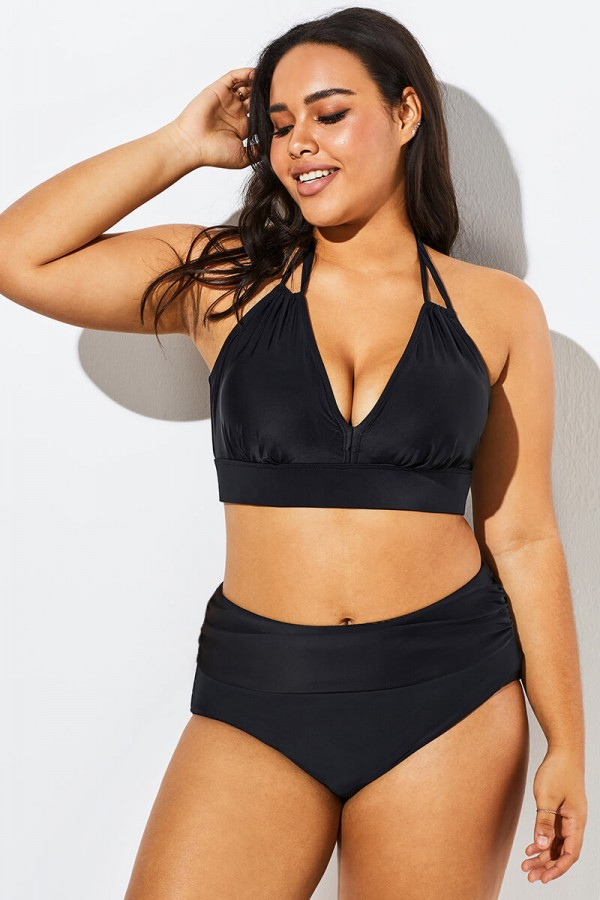 Fashionable Black V-neck Halter Bikini Set