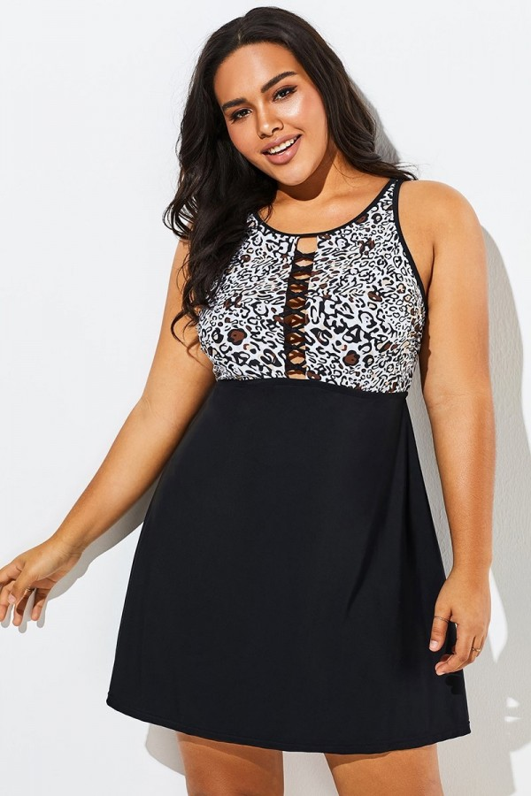 Black Leopard Print Sexy Side Lace Up Swimdress