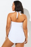 White Hollow Out Underwire One Piece Swimsuit