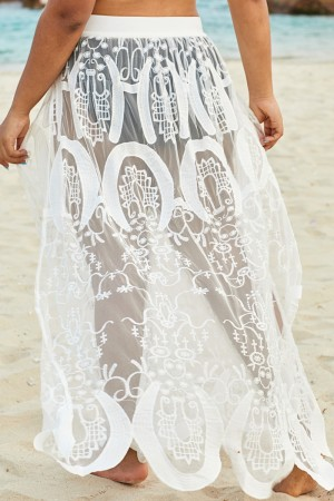 White Stylish Lace HighSplit Skirt Cover Up