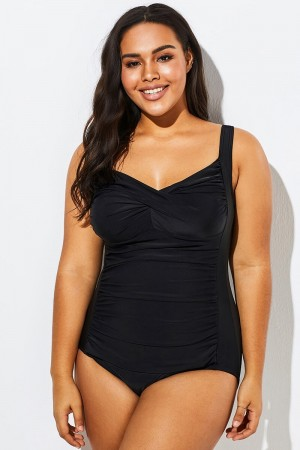 Black Twist Front Push Up One Piece Swimsuit